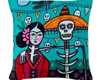 Day of The Dead Pillow -  - Throw Pillow Mexican Folk Art Frida Kahlo, Sugar Skulls, Skeleton (HG625)
