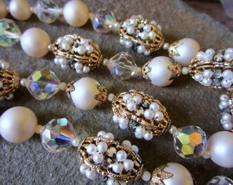 "Vendome Necklace. 30"" Long. Pearl Rhinestone Glass Beads"
