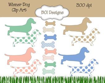 Wiener Dog  ~ Dachshund clip art ~ instant download
