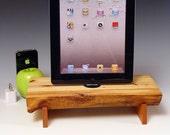 FREE SHIPPING. Log slice docking station with wall charger for ANY iPad, Mini or iPhone. 537. Live edge Pinion Pine and Black Cherry.
