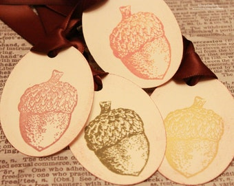 Acorn Gift Tags (Double Layered) - Vintage Inspired Fall Tags - Thanksgiving Tags - Autumn Tags - Set of 8