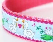 Swans in Love Dog Collar / Ribbon Dog Collar / Pink Girl Collar / Valentine's Day