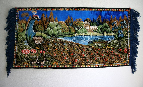 1970 S Peacock Nature Tapestry Wall Hanging Rug By