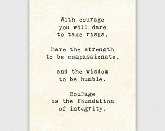 Life Quote Print, inspirational typography, typewriter, courage