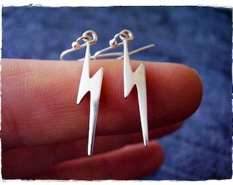 Silver Lightning Bolt Earrings - Sterling Silver Lightning Bolt Dangle Earrings