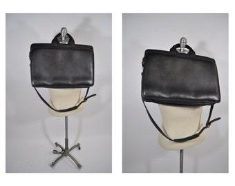 vintage leather bag satchel briefcase tote eddie bauer laptop messenger bag