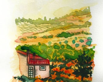 "Original Watercolor Landscape ""TUSCANY"" Italy Italian Landscape Art Original Made to Order"