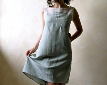 Linen dress, linen tunic, tunic dress, day dress, short dress, sundress, women dress, sleeveless dress, lace dress, boho dress, summer dress