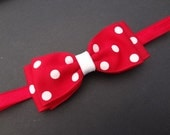 Red with White Polka Dots Bow Headband. Red Bow Headband. Red Baby Headband. Baby Hair Accessories. Girls Hair Accessories. Red Elastic