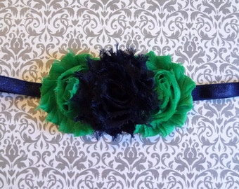 Navy & Emerald Green Shabby Chic Flower Headband, Navy and Green Headband. Baby Hair Accessories. Girls Hair Accessories, Flower Girl