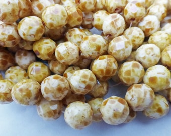 25 Czech Glass Fire Polished  Round Beads in Opaque White with Brown Picasso  8mm Size