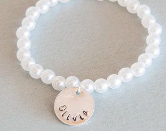 Girls Pearl Bracelet Childrens youth kids hand stamped personalized tag for weddings dance graduation birthday christmas