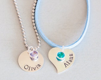 The Gemma Necklace / Personalized silver necklace with birthstone for girls daughter niece grandaughter child childrens