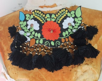 Cute  embroidered    and beaded  flower  applique  1 pieces listing 6 1/2 inches long 5 1/2 inches at the center