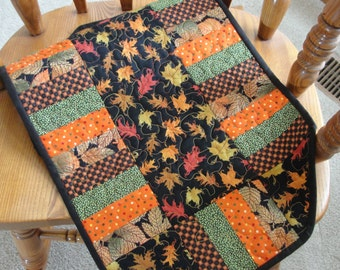 Quilted Patchwork Fall Leaves Table Runner