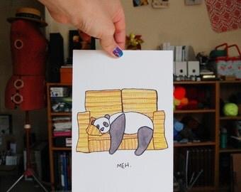 Panda Meh Illustration Giclee Print A5