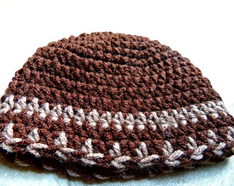 Clearance Boys Brown Zig Zag Crochet Hat/Beanie Ready To Ship Size 0-3 Months