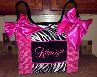 Beautiful  custom  made Zebra Fur Hot Pink Lime Green Rose Cuddle Fabric Baby Diaper Bag high quality nice baby boy or baby girl any color