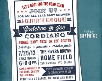 All Star Baby or Wedding Shower.  Americana Sports Themed Baby Shower  Invitation by Tipsy Graphics