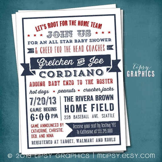 all star baby or wedding shower. americana sports themed baby, Baby shower invitations