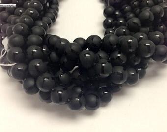 """32 pcs 12mm 16"""" long full strand matte finished soccer ball design onyx beads reserved for customer"""