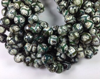 32 pcs beads 12mm round faceted Tibetan agate beads