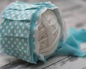 Newborn Aqua Polka Dot Fabric Bonnet - Newborn Photography Prop