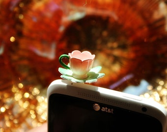 Tea cup cell phone plug charm