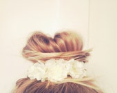 Vintage Floral Inspired Bun Cover for Top Knots Sock Buns and Messy Buns in White Cream Colored Flowers Fashionista Girly Hipster Mini Crown