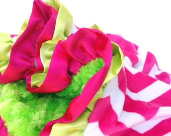 Stroller Size New Double Ruffle Hot Pink Chevron with Lime Green Minky Baby Blanket