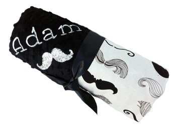 Lovey Size Black and Cream Moustache Baby Blanket with Black Dot Minky Back Personalization Included