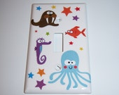Wide eyed Sea Creatures single light switch cover
