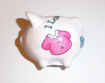 Baby Girl Mini Piggy Bank, Baby Gift, Nursery,  Swarovski Crystals, Kids Room,