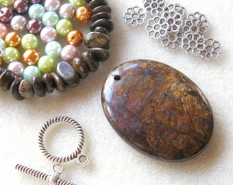 Bronzite Pendant and Beads, Glass Pearls, Jewelry Making Kit, Gemstone Beads, Bead Kit,  DIY Jewelry Kit Craft Supplies Multi Color Pearls