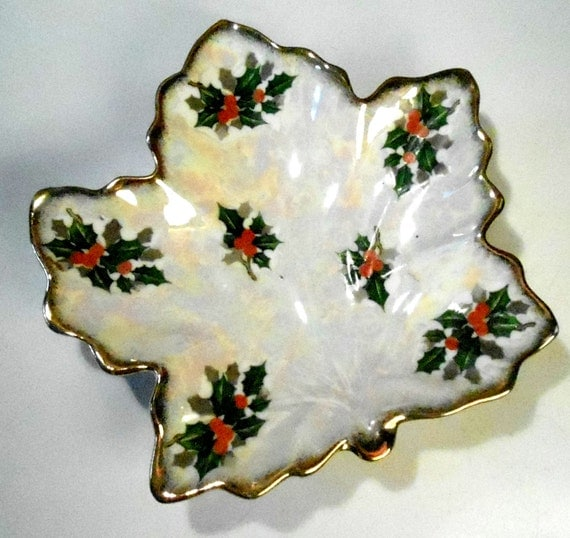 Vintage christmas holly dish opalescent candy shaped
