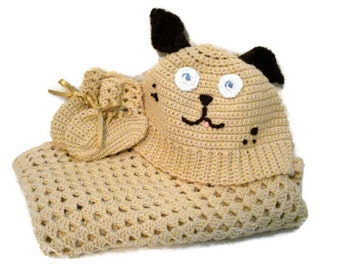 Crocheted Tan Brown Spotted Puppy Dog Happy Pet Hooded Baby Soft Infant Blanket Afghan with Matching Booties Shoes Gender Neutral Gift