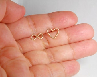14K gold filled infinity love earrings, post earrings, entirely with 14K gold filled material