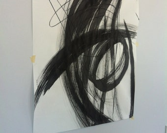 Modern art, black and white charcoal on paper with india ink, home decor, wall design, living room