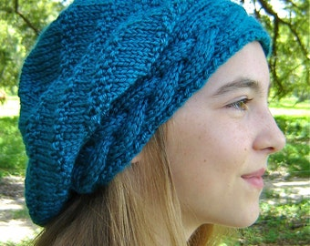 PATTERN Slouchy Braided Band Knitted Slouchy Hat Instant digital download