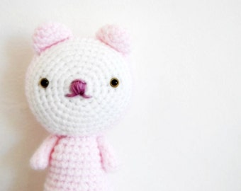 Pastel Pink Cat, toy, hand-crocheted, amigurumi, ready to ship