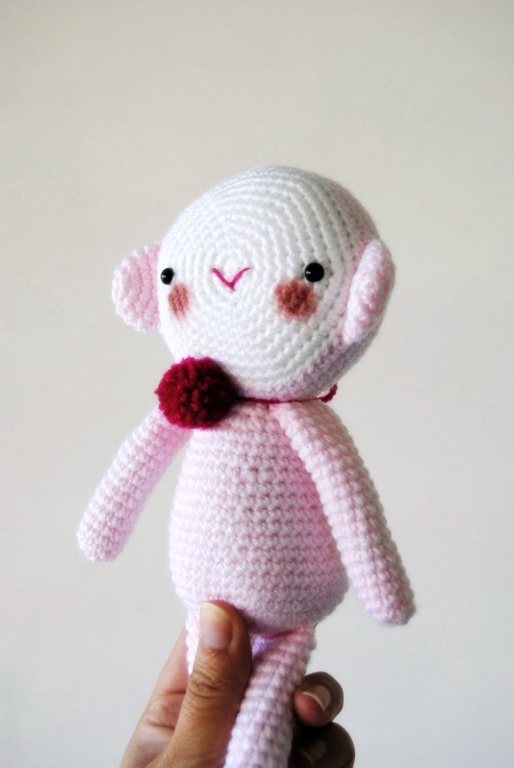Amigurumi // Big Pastel Pink Monkey with a red by avoiretc ...