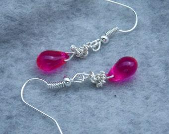 Dangle Earrings, Hot Pink Bead Earrings, Wire Wrapped Briolette Earrings