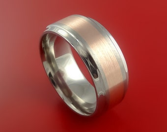 Titanium Ring Classic Style with 14k Rose Gold Inlay Wedding Band Any Size and Finish 3-22