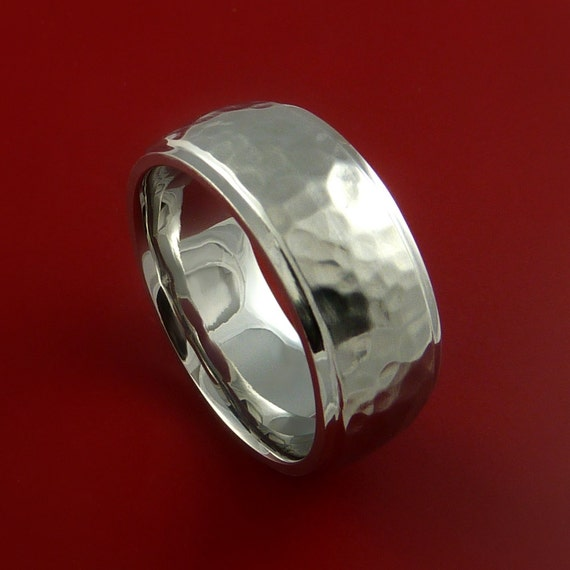 Cobalt Chrome Hammered Wedding Band Engagement Ring Made To