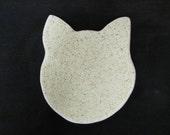 Handmade Cat Dish Ceramic Pottery Speckled Beige Stoneware