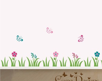 Border Vinyl Wall Decal 13.6 ft long, Grass, flowers and butterflies, kids room, girls room, removable wall decal border