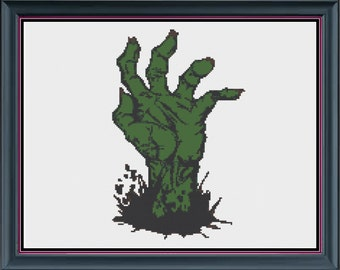 Zombie hand cross stitch pattern