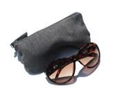 Gray Eye Glasses Case. Eyeglass Case. Eyeglass Pouch. Reading Glasses Case Curves Eyeglasses Pouch