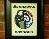 SEATTLE SEAHAWKS Denver BRONCOS Yin Yang Football Handpainted Wall Decor 8 X 10