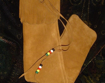 Native Flute Bag, Shakuhachi, Whistle Bag, Pipe Pouch, Drumstick Case with Fringe 27 x 4.5